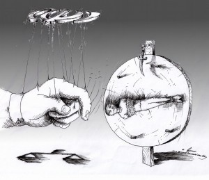 "Political Cartoon: ""Wheel of Justice"" for Amir Hekmati 2012 by Iranian American Cartoonist and Artist Kaveh Adel"