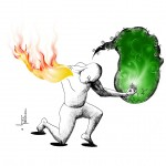 "Political cartoon: ""Fire and Flower"" by Iranian American Cartoonist Kaveh Adel."