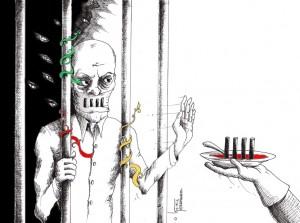"Political Cartoon: ""Hunger Strike"" by Cartoonist t Kaveh Adel"