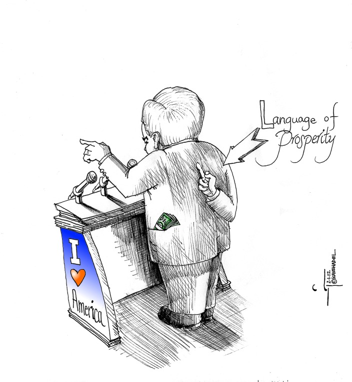 Political Cartoon: &quot;Language of Prosperity by Newt&quot; Drawn by Iranian American Cartoonist Kaveh Adel. 