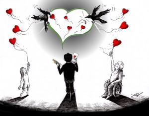 "Political Cartoon ""Oscar Farhadi Message Separation"" by Iranian American Cartoonist and Artist Kaveh Adel"