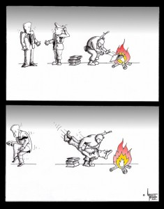 "Political Cartoon ""The Burn"" by Iranian American Cartoonist and Artist Kaveh Adel"
