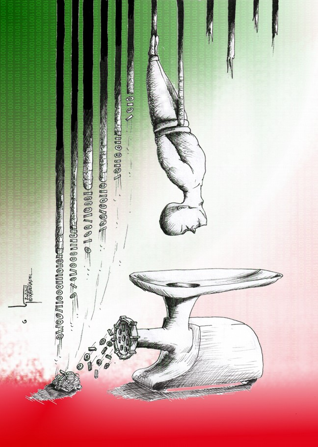 "Political Cartoon ""Zero and One "" (For Saeed Malekpour and others) by Cartoonist and Artist Kaveh Adel."