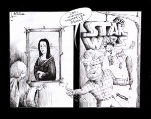 "Popular Culture Cartoon: ""Lucas and Da Vinci Monetized"" by Iranian American Cartoonist Kaveh Adel"