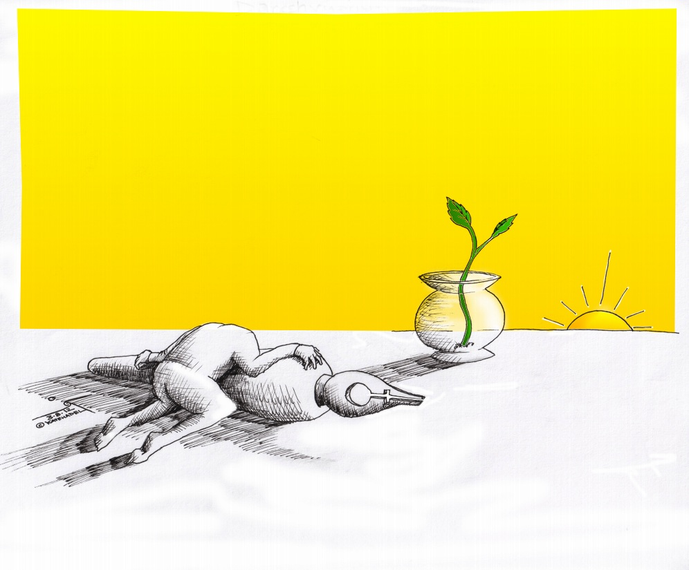 "Cartoon ""Simin's Savushun"" in Memory of Simin Daneshvar  سیمین دانشورby Iranian American Cartoonist and Artist Kaveh Adel"