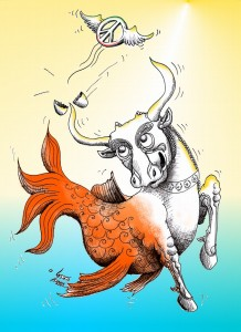 Political Cartoon &quot;Bullfish&#039;s Peaceful Nowrouz Wish 1391&quot;by Iranian American Cartoonist and Artist Kaveh Adel