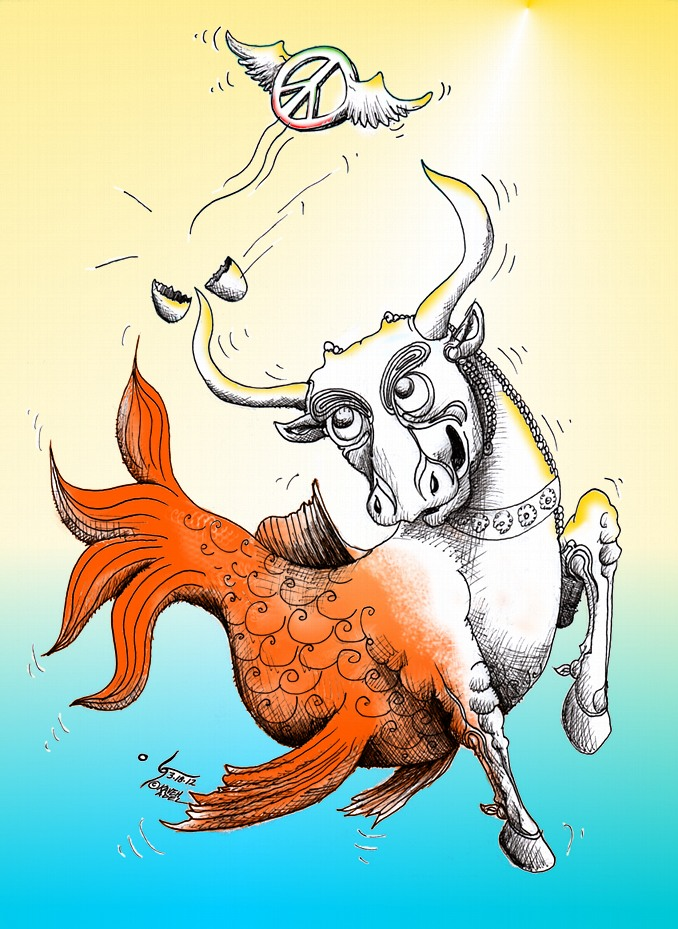 Political Cartoon &quot;Bullfish's Peaceful Nowrouz Wish 1391&quot;by Iranian American Cartoonist and Artist Kaveh Adel