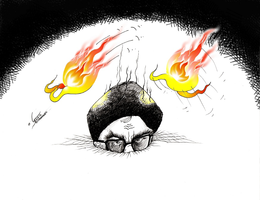Political Cartoon: &quot;Chahar Shanbeh Soori  &quot;  by Iranian American Cartoonist and Artist Kaveh Adel