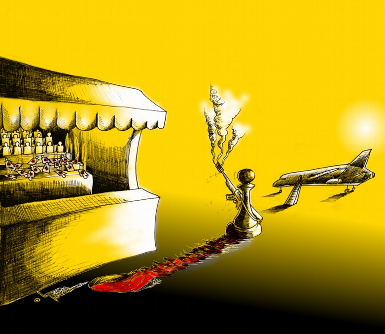 "Political Cartoon ""Flying Shooting Pawn"" 2012 by Iranian American Cartoonist and Artist Kaveh Adel"