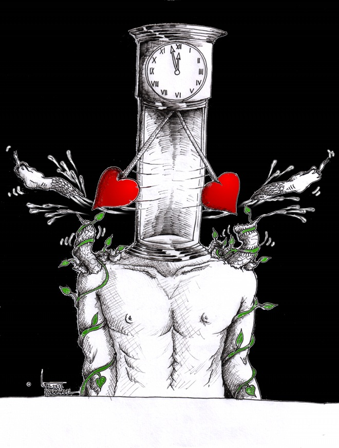 "Political Cartoon ""Historic Love Clock for Humanity"" by Iranian American Cartoonist and Artist Kaveh Adel"