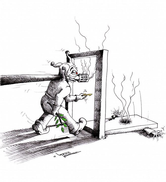 """Political Cartoon """"Peace Policy"""" 2012 by Iranian American Cartoonist and Artist Kaveh Adel."""