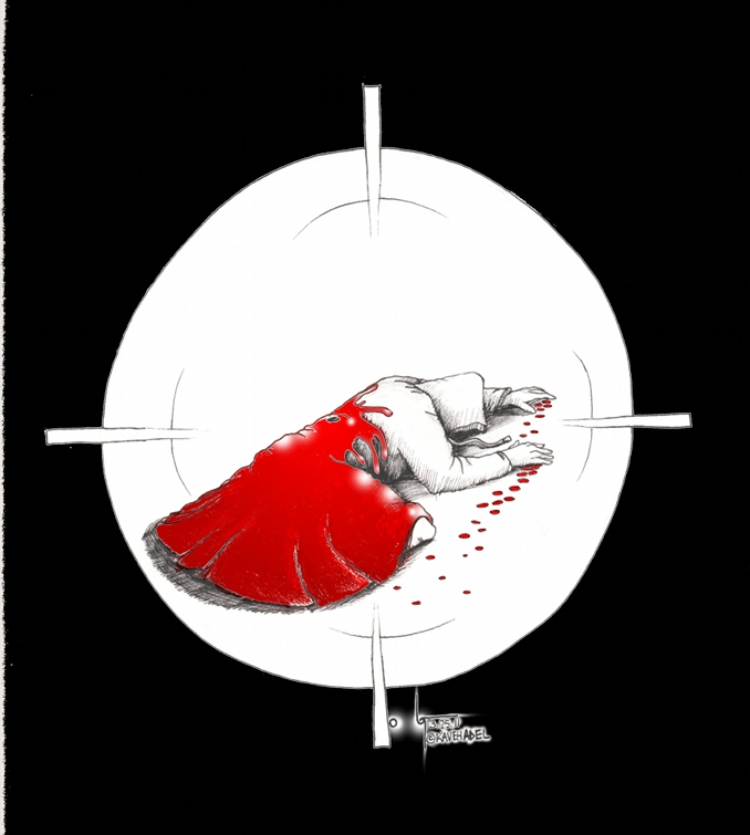 "Political Cartoon ""Trayvon Red Riding Hood"" (dedicated to Trayvon Martin) by Iranian American Cartoonist and Artist Kaveh Adel"