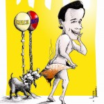 "Political Cartoon ""Unsanitary Santorum"" 2012 by Iranian American Cartoonist and Artist Kaveh Adel"