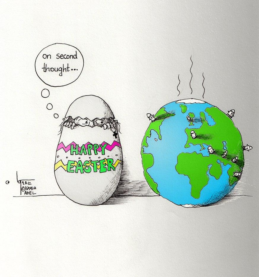 "Cartoon ""Jesus' Easter Egg Hunt"" by Iranian American Cartoonist and Artist Kaveh Adel"