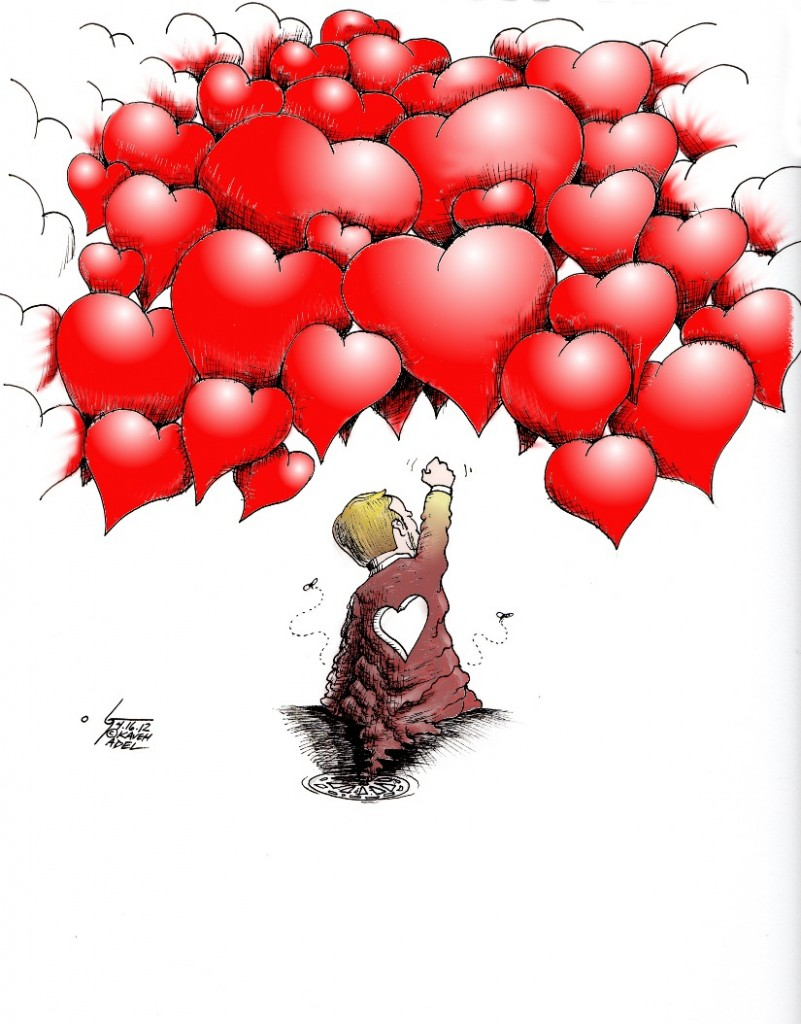 "Political Cartoon: ""Breivik Hate No Match for Love"" by Iranian American Cartoonist Kaveh Adel"