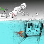 Political Cartoon &quot;Diplomatic Swim in Tehran Subway&quot; by Iranian American Cartoonist and Artist Kaveh Adel