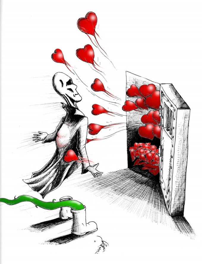 "Human Rights Cartoon ""Hearts belong"" by Iranian American Cartoonist Kaveh Adel"