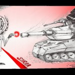 "Political Cartoon ""Kofi The Tank Silencer"" by Iranian American Cartoonist and Artist Kaveh Adel"