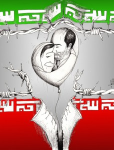 Political Cartoon &quot;Mother&#039;s Hug A son&#039;s Kiss&quot; For Kouhyar Goudarzi and Parvin Mokhtare by Iranian American Cartoonist Kaveh Adel