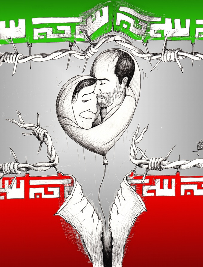 Political Cartoon &quot;Mother's Hug A son's Kiss&quot; For Kouhyar Goudarzi and Parvin Mokhtare by Iranian American Cartoonist  Kaveh Adel