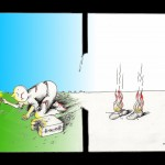 Political Cartoon: &quot;Shoeless by Choice&quot; by Iranian American Cartoonist and Artist Kaveh Adel