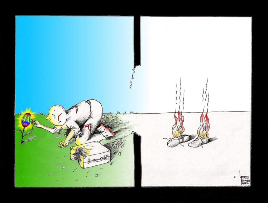 """Political Cartoon: """"Shoeless by Choice"""" by Iranian American Cartoonist and Artist Kaveh Adel"""