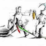 "Political Cartoon ""Starved Revolt"" by Iranian American Cartoonist and Artist Kaveh Adel"