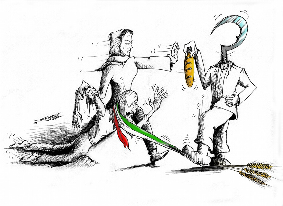 Political Cartoon &quot;Starved Revolt&quot;  by Iranian American Cartoonist and Artist Kaveh Adel