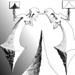 Political Cartoon: &quot;The Gulf in Peak of Black and White&quot; by Iranian American Cartoonist Kaveh Adel