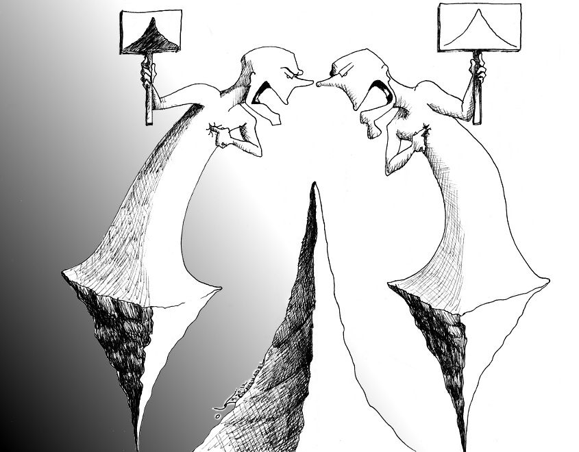 "Political Cartoon: ""The Gulf in Peak of Black and White"" by Iranian American Cartoonist Kaveh Adel"