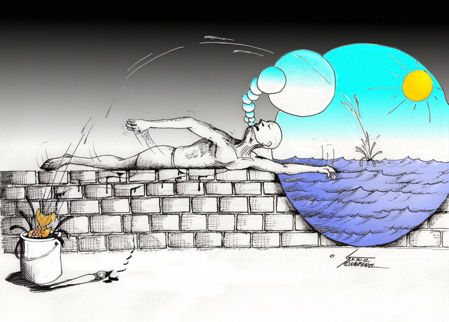 "Political Cartoon ""Wall Swimmer"" by Iranian American Cartoonist and Artist Kaveh Adel.  Wall swimmer challenges the normal and explores the surreal, Dali style."