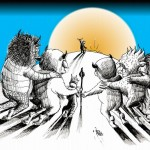 Cartoon &quot;Let Sendak&#039;s Wild Rumpus Start&quot; by Iranian American Cartoonist and Artist Kaveh Adel