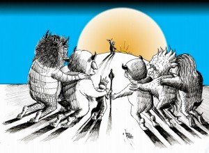 "Cartoon ""Let Sendak's Wild Rumpus Start"" by Iranian American Cartoonist and Artist Kaveh Adel"