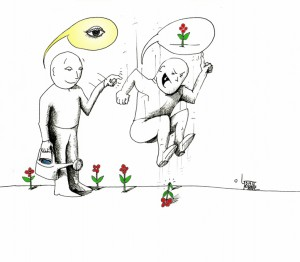 "Political Cartoon ""Eye am Right"" by Iranian American Cartoonist Kaveh Adel"