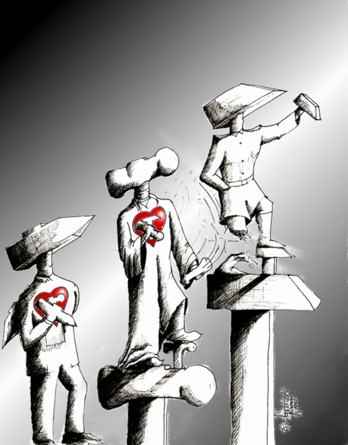 "Political Cartoon ""Hammerheads and Hearts"" by Iranian American Cartoonist and Artist Kaveh Adel"