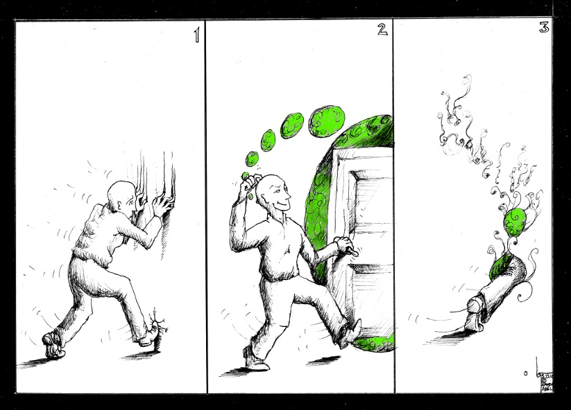 Cartoon Intuition Door 2012 by Iranian American Cartoonist and Artist Kaveh Adel