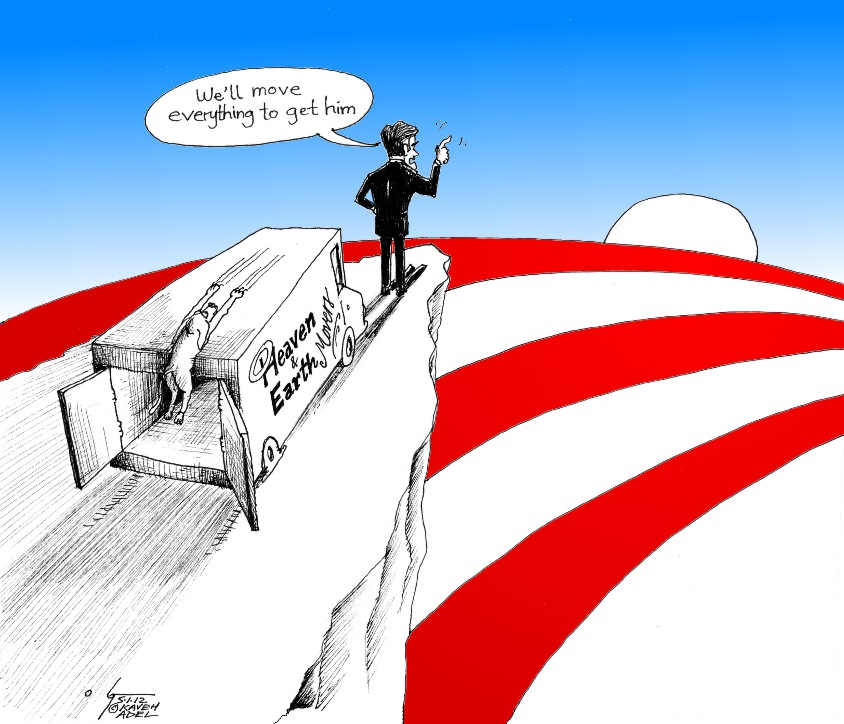"Political Cartoon: ""Move Everything Romney""  by Cartoonist Kaveh Adel"