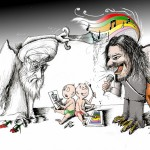 "Political Cartoon ""Shahin versus the Fatwa"" by Iranian American Cartoonist and Artist Kaveh Adel"
