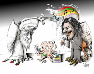 Political Cartoon &quot;Shahin versus the Fatwa&quot; by Iranian American Cartoonist and Artist Kaveh Adel