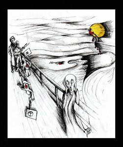 Political Cartoon &quot;The Scream of 2012&quot; by Iranian American Cartoonist and Artist Kaveh Adel