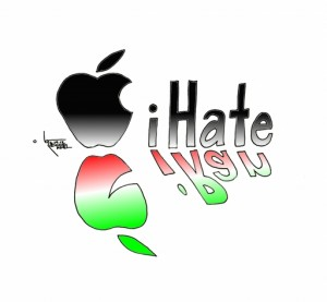"Political Cartoon ""Apple's iHate for iRan"" by Iranian American Cartoonist Kaveh Adel"