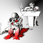 Political Cartoon &quot;Follow Burden&quot; by Iranian American Cartoonist and Artist Kaveh Adel
