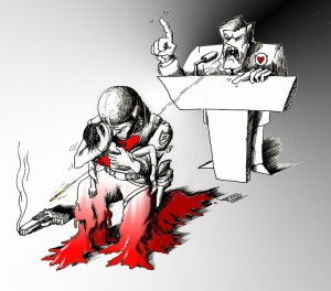 "Political Cartoon ""Follow Burden"" by Iranian American Cartoonist and Artist Kaveh Adel"