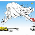 Political Cartoon &quot;God of Skies Hear the Cries&quot; by Iranian American Cartoonist Kaveh Adel