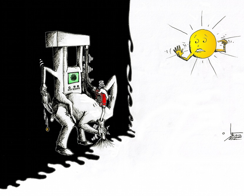 "Political Cartoon ""Pump Head in the Sand"" by Iranian American Cartoonist and Artist Kaveh Adel"