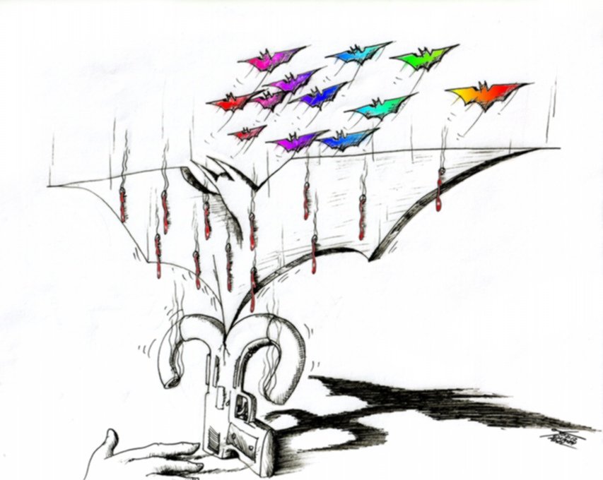 "Political Cartoon ""Dark Night in Aurora""  by Iranian American Cartoonist Kaveh Adel"