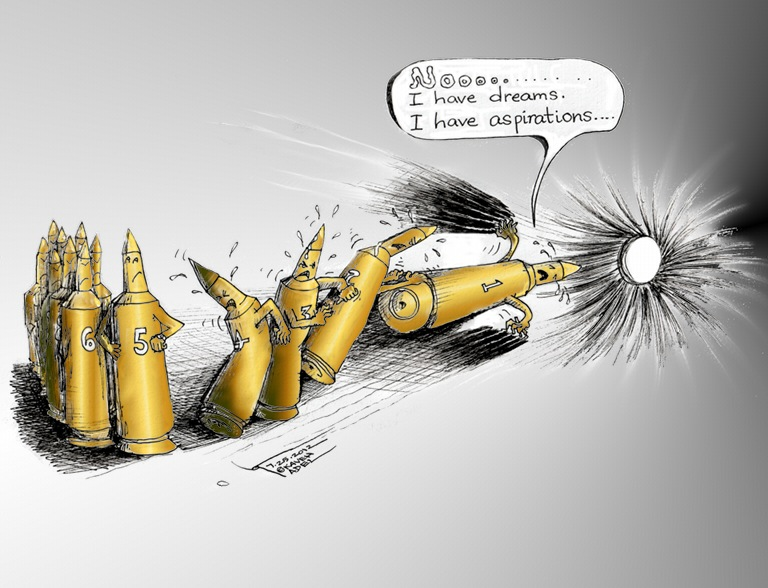 Political Cartoon &quot;Defiant Bullet&quot; by Iranian American Cartoonist Kaveh Adel