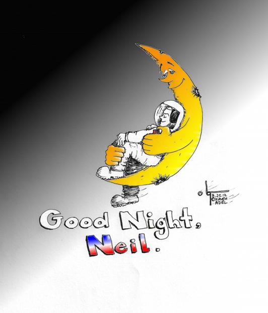 "Cartoon ""Good Night Neil"" by Iranian American Cartoonist Kaveh Adel"