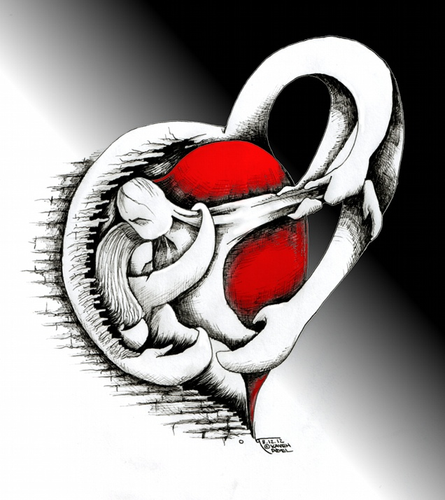 Cartoon &quot;HeartQuake For Iran&quot; 2012 by Iranian American Cartoonist Kaveh Adel