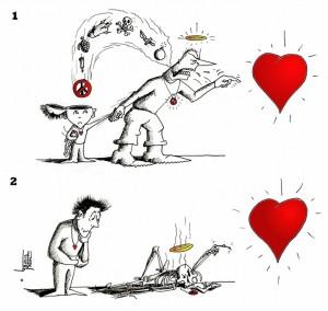 "Political Cartoon ""Hatedoctrination Contemplation"" by Iranian American Cartoonist Kaveh Adel"